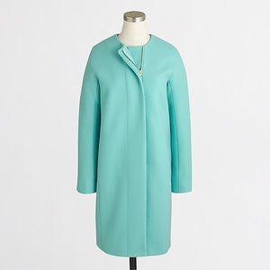 J.Crew Collarless wool blend dress coat blue sz 8